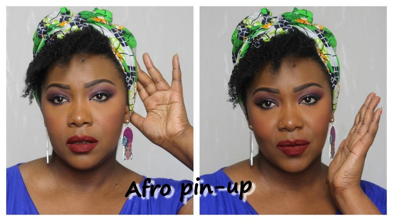 Look afro pin-up: maquillage, coiffure, attaché de foulard